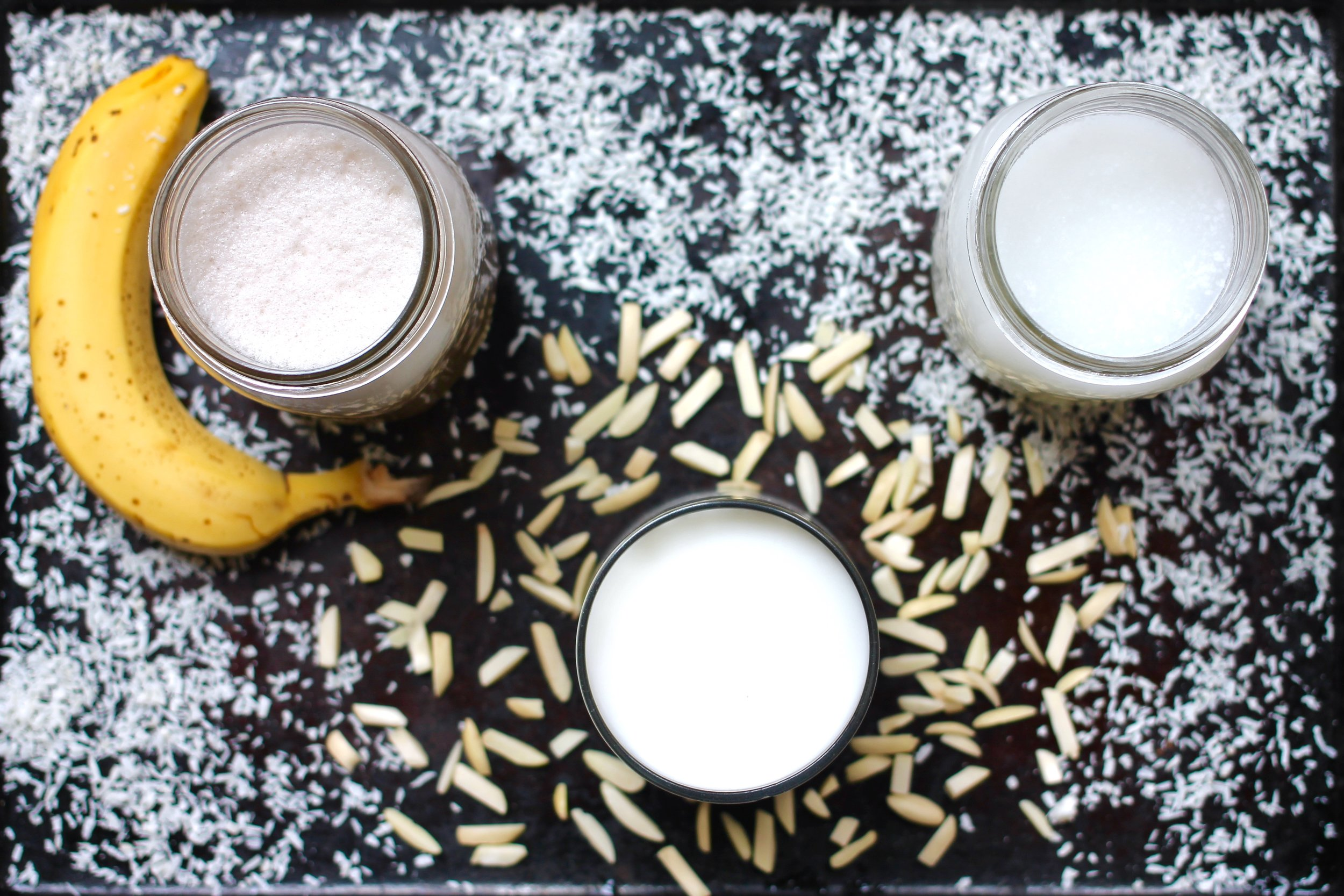 Banana Milk, Almond Milk, and Coconut Milk