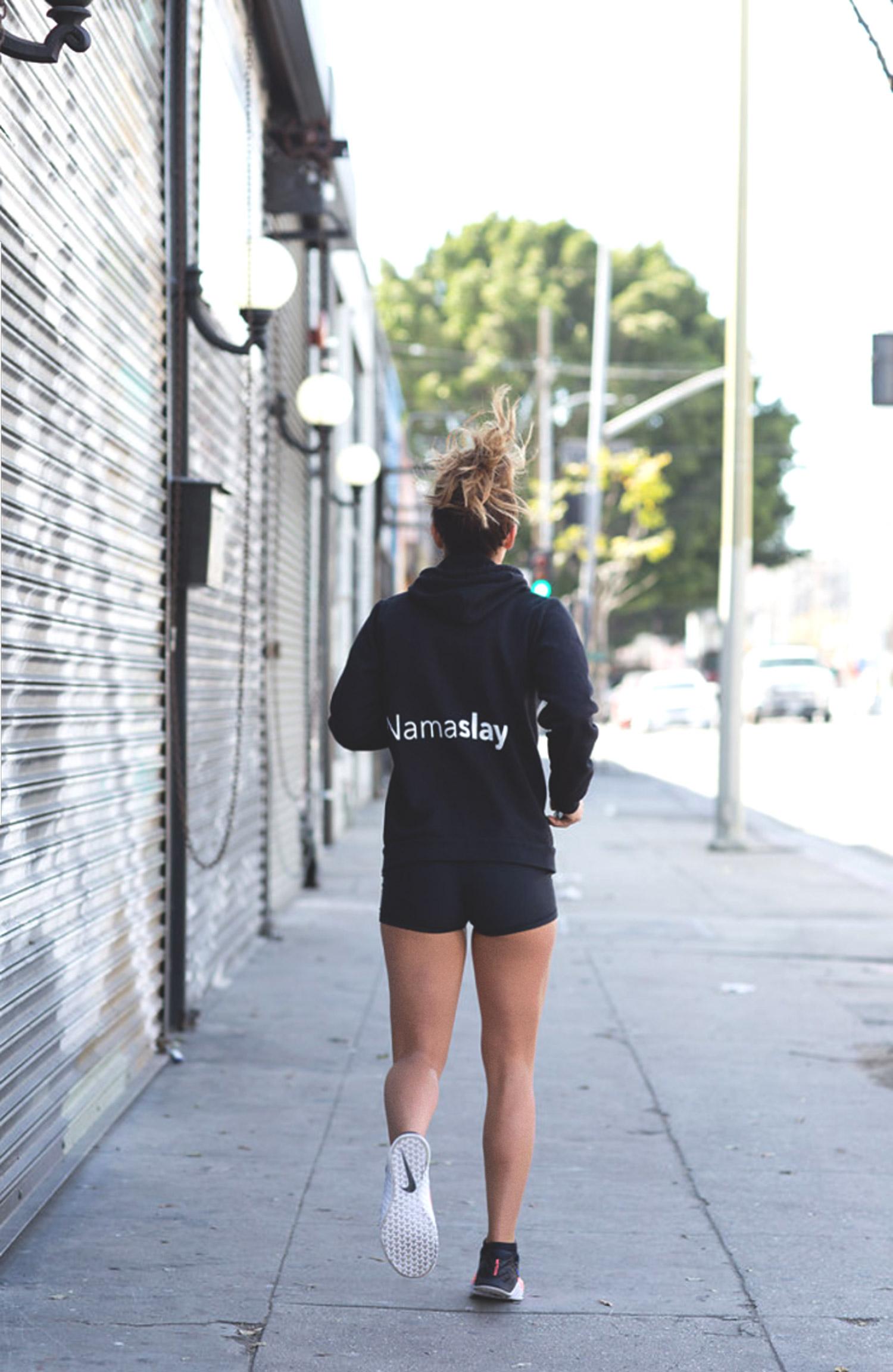 Wearing:  Namaslay hoodie ,  Lululemon shorts ,  Nike Metcon 3