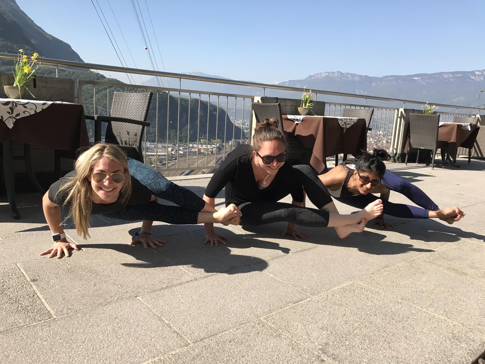 Lizz, Megan and Anita doing 8 angle pose