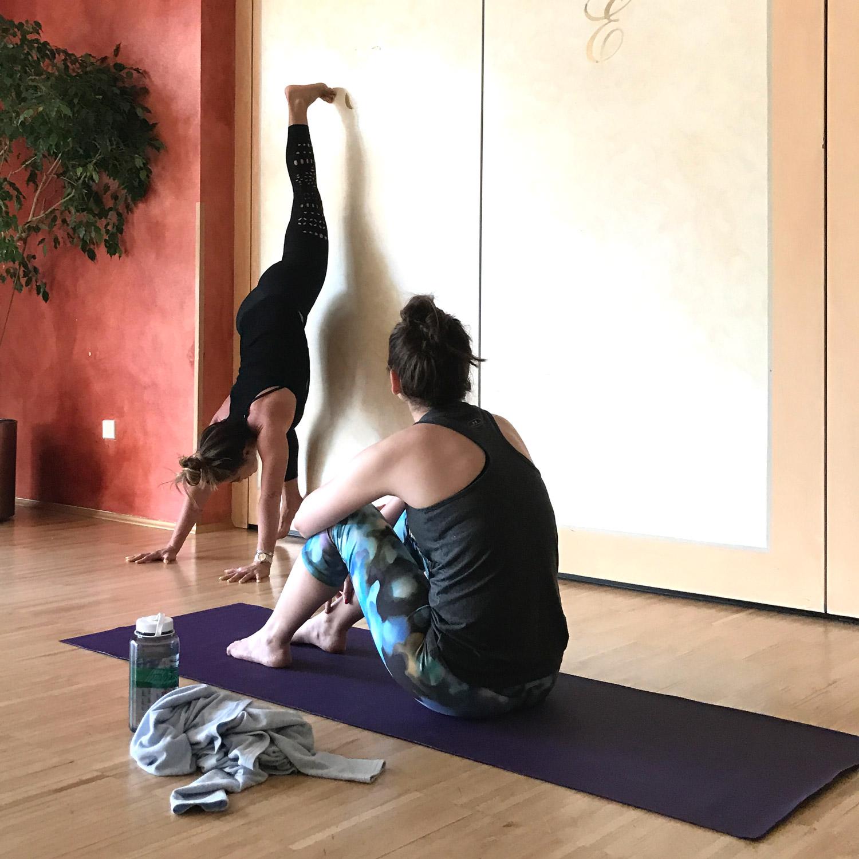 Teaching splits against the wall