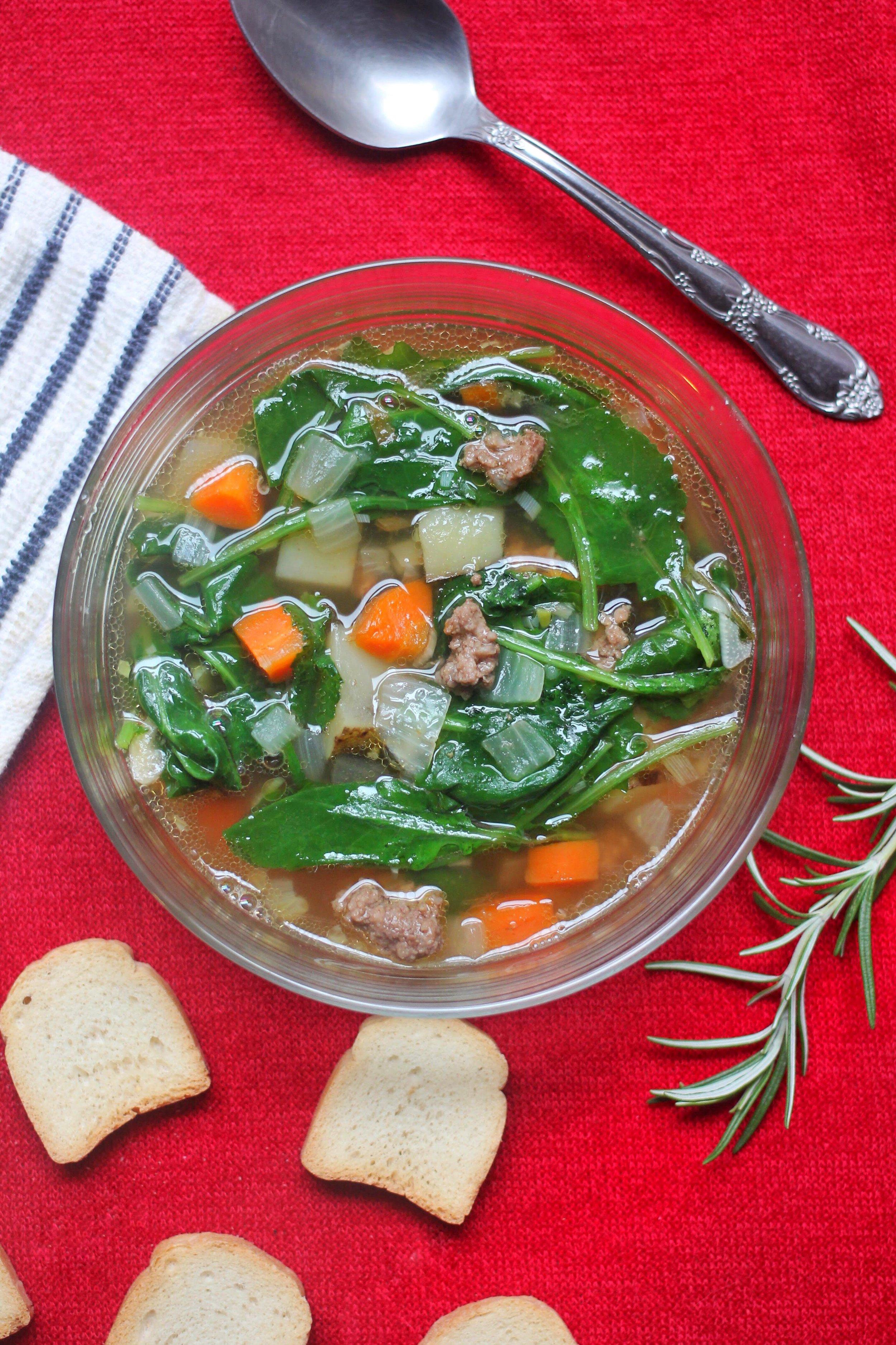 Ground Beef & Kale Stew