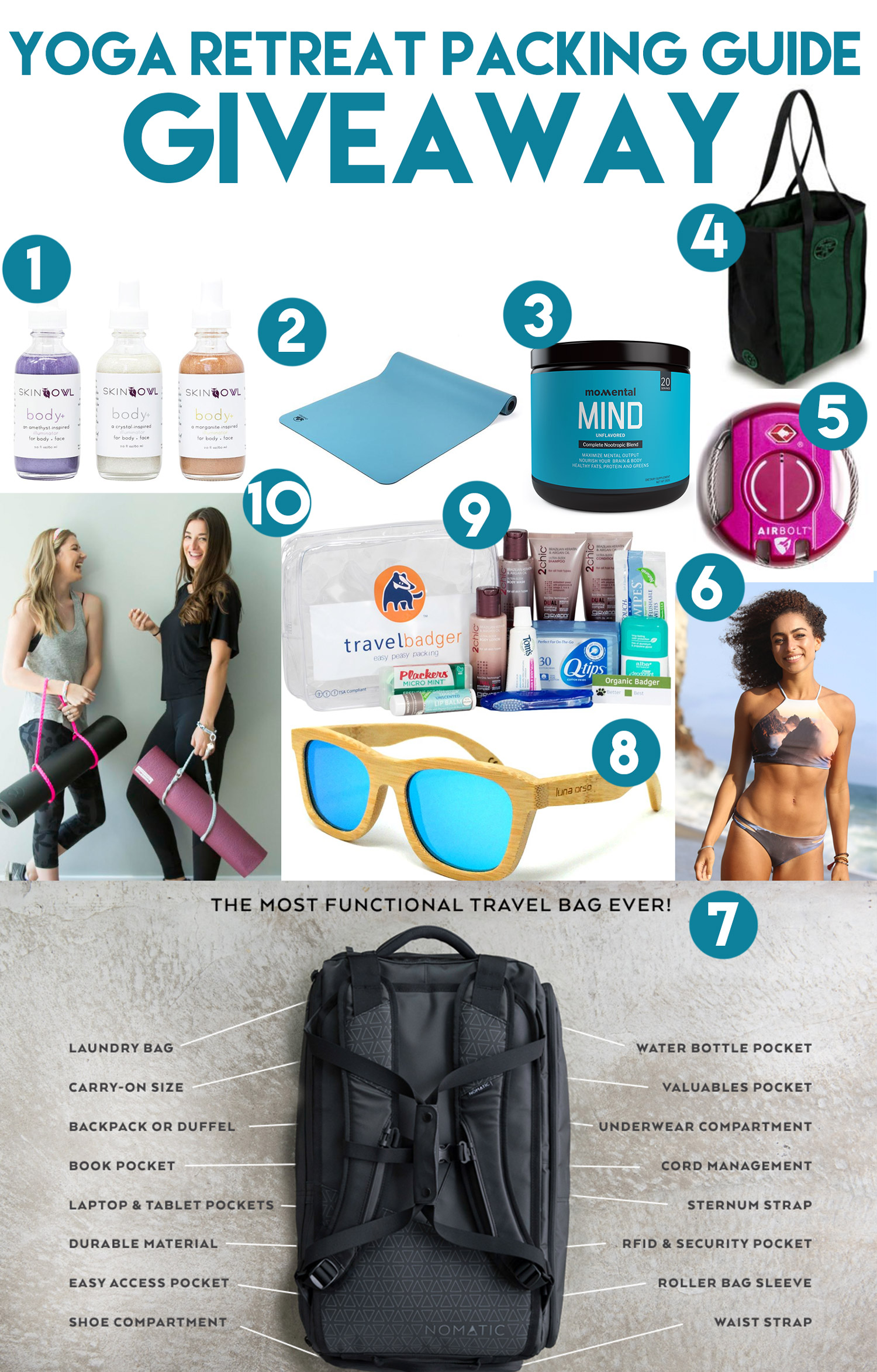 Everything in this year's Yoga Retreat Packing Guide Giveaway - enter to win below!
