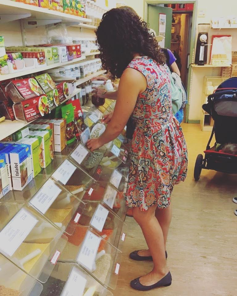 Danielle shopping the bulk section