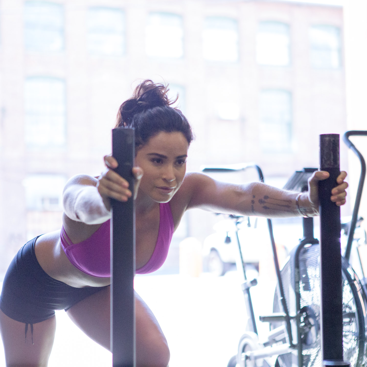 Sled pushes utilize glute strength.