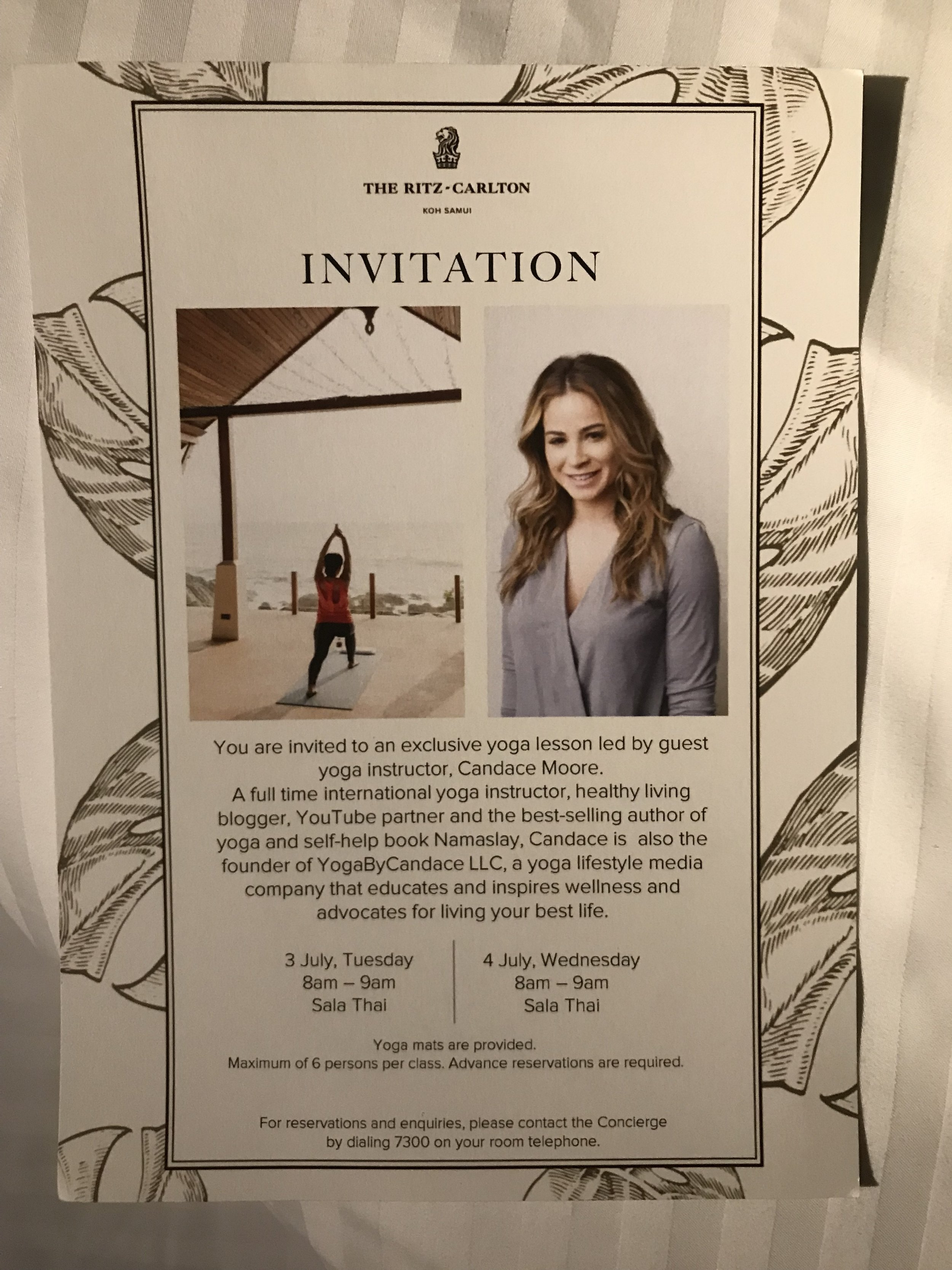Flyer for the guests about my yoga class