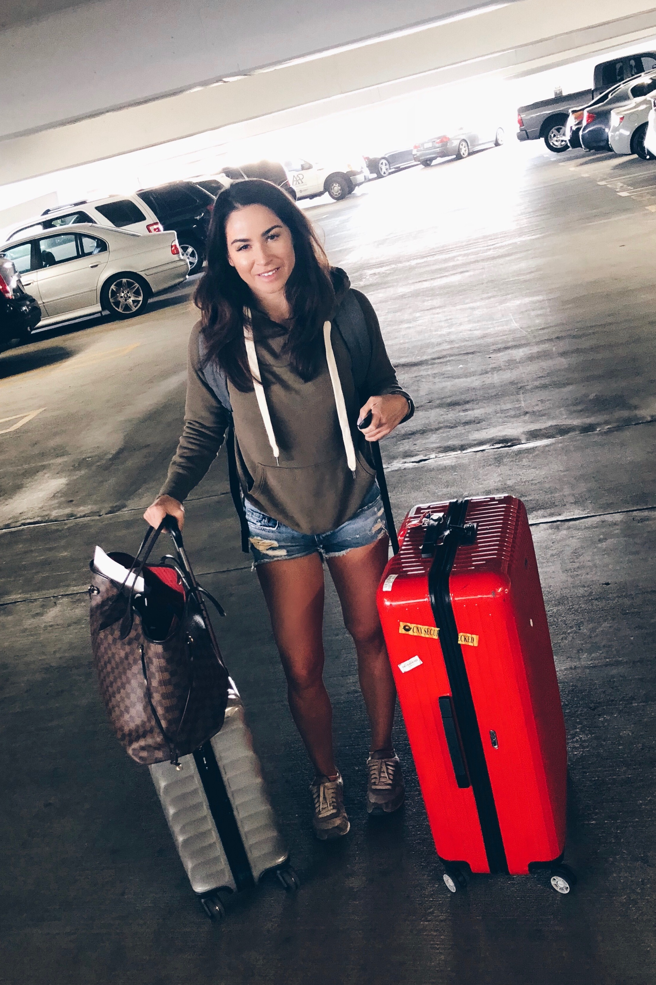 With all the travel I've done, I've learned so much about packing this year.  Wearing: NSF Sweatshirt ( leopard version ),  shorts . Using  Rimowa Salsa Air,   Tumi carry-on , and  LV Neverfull .