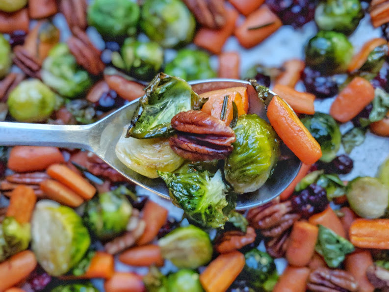 Roasted Vegetables with Maple Pecans & Cranberries