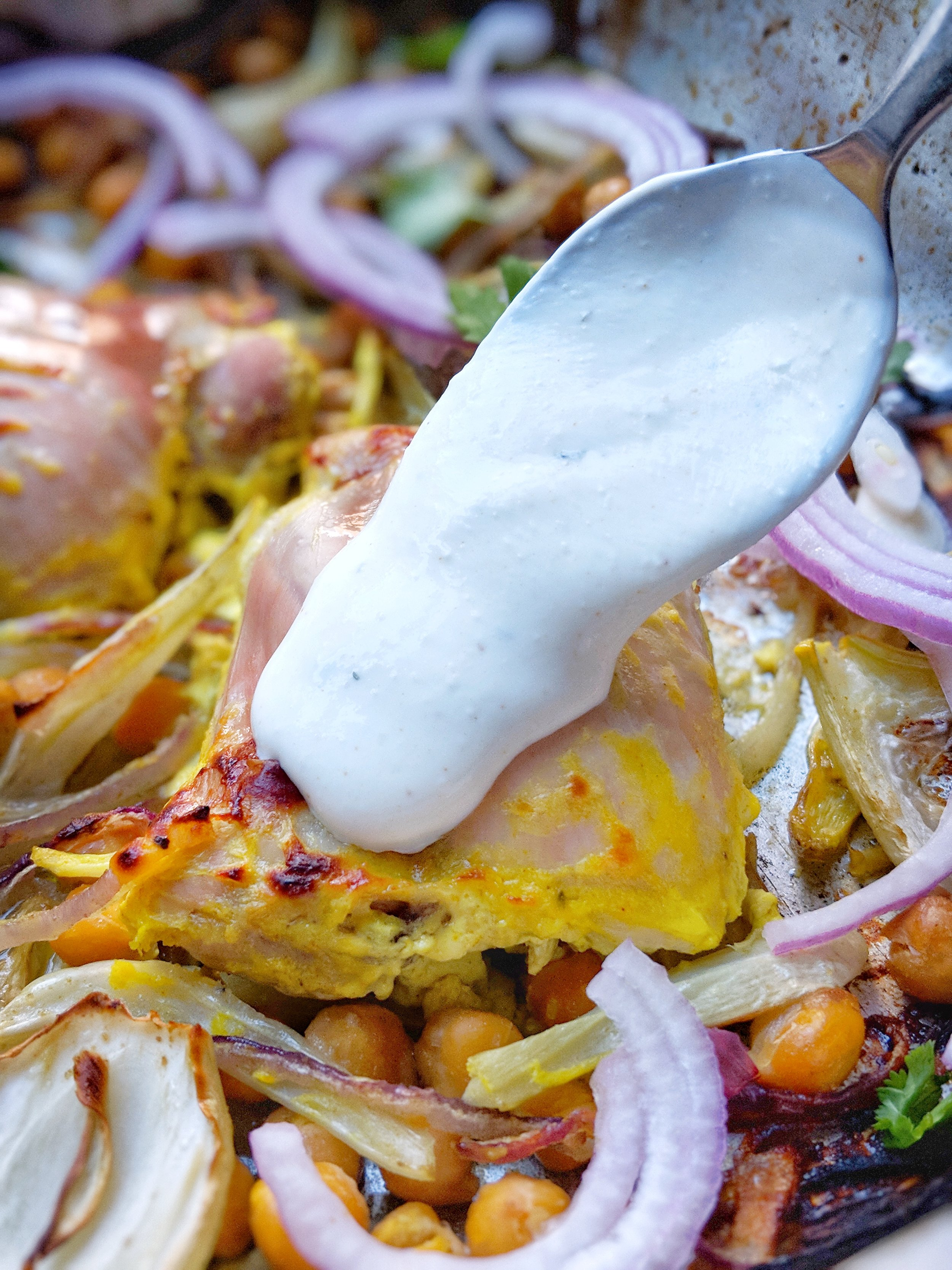 Yogurt-Marinated Sheet Pan Chicken with Chickpeas, Fennel, & Onions