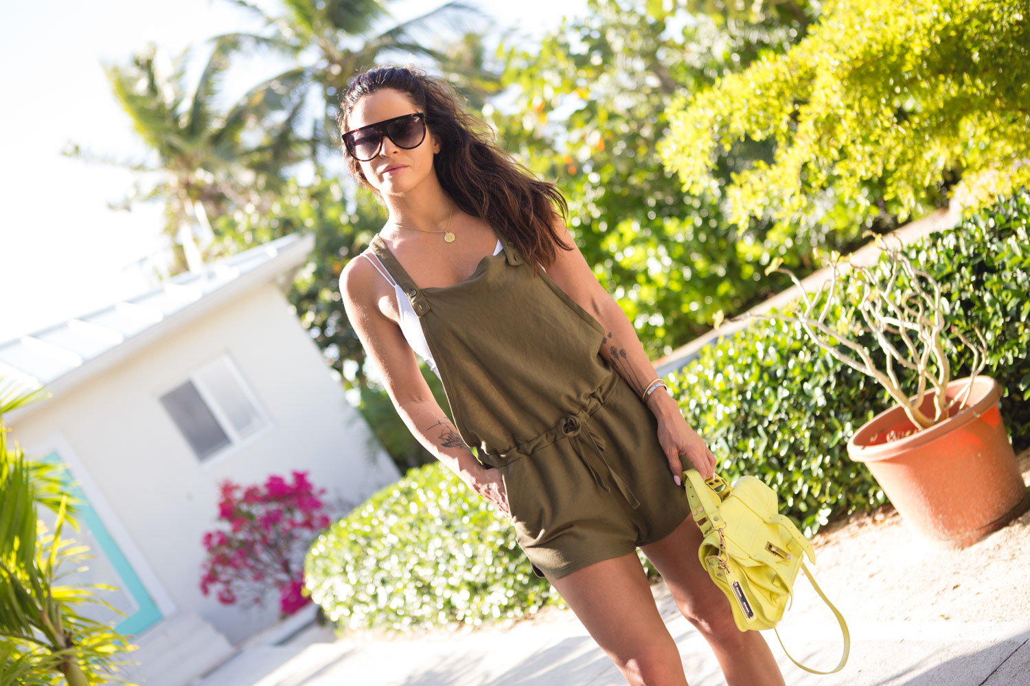 Olive Romper I wore in the Cayman Islands