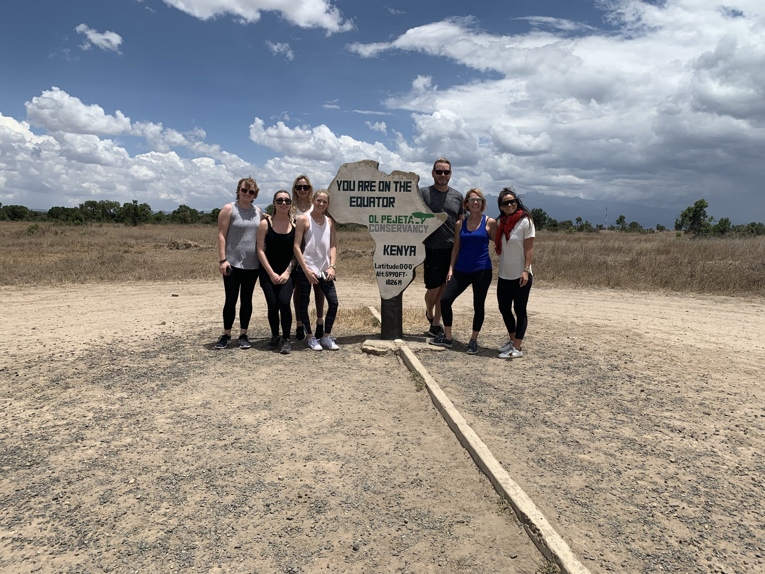 The whole gang at the equator. This photo was taken moments after arriving on the conservancy.