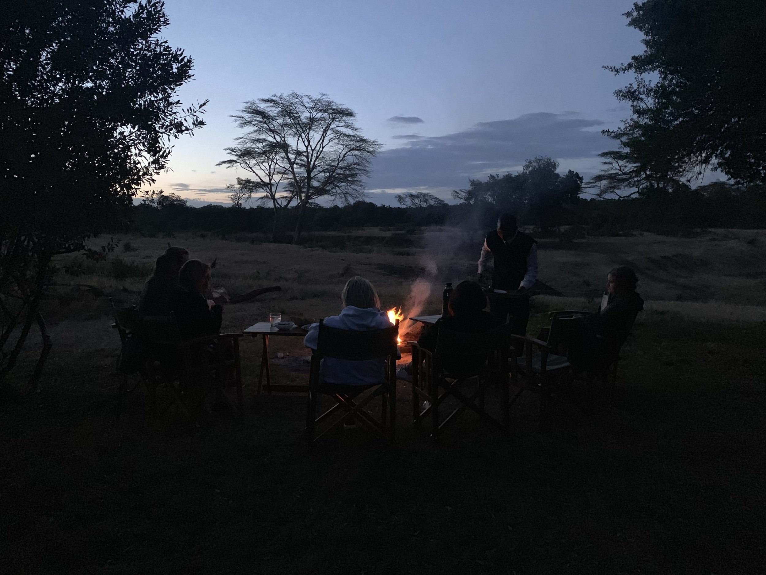 We enjoyed Sundowners (aka cocktails or drinks of your choice) by the fire each and every night