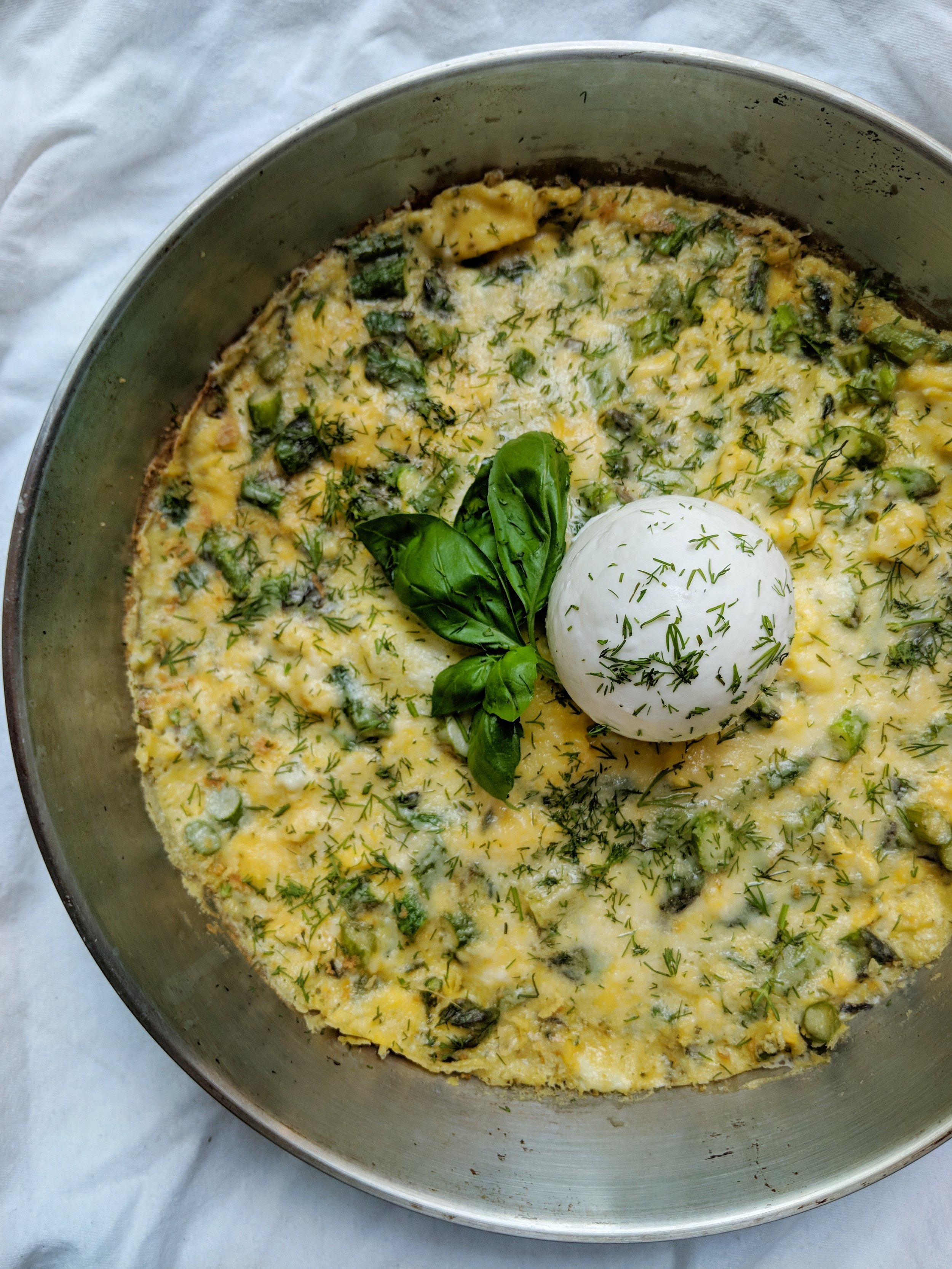 Asparagus & Dill Frittata with Burrata