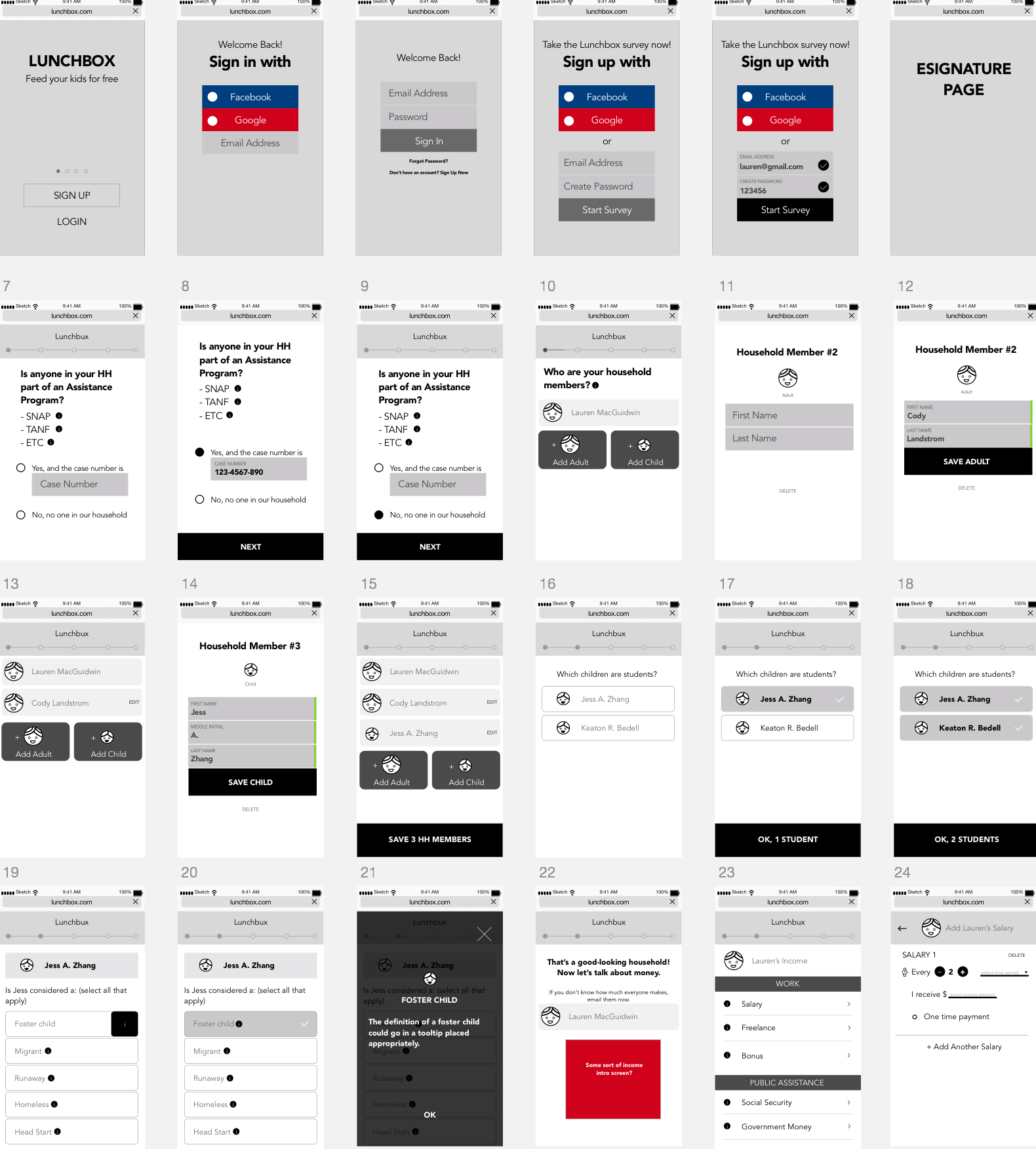 Initial wireframes.