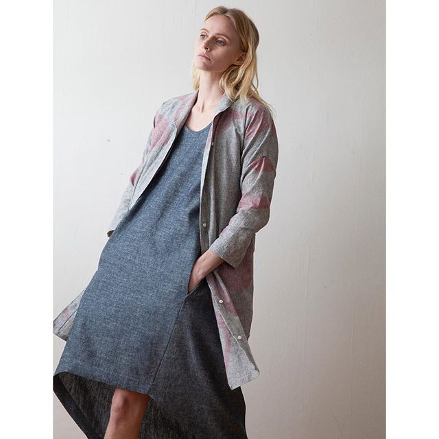 Hand painted Cyclamen Overshirt and Basalt Canvas dress.  #sustainablefashion #organic #smallbatch #madetoorder #handpaintedtextiles #organicdenim #mood #seattlemade #madeinusa