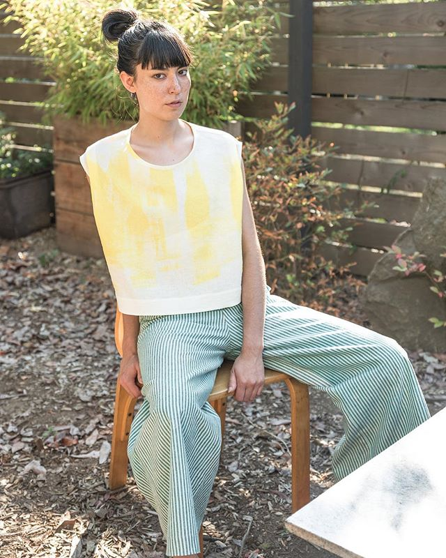 Rhombus Hand Painted Top now available. Made to order at our Seattle studio. . . . #sustainablefashion #organic #handpainted #ss18 #womansfashion #yellow #springfashion #madeinseattle #organiclinen #organiccotton