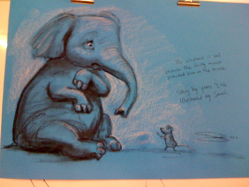 The elephant is sad because the mouse punched him on the trunk, by years 3 & 4 at St Madeleine's