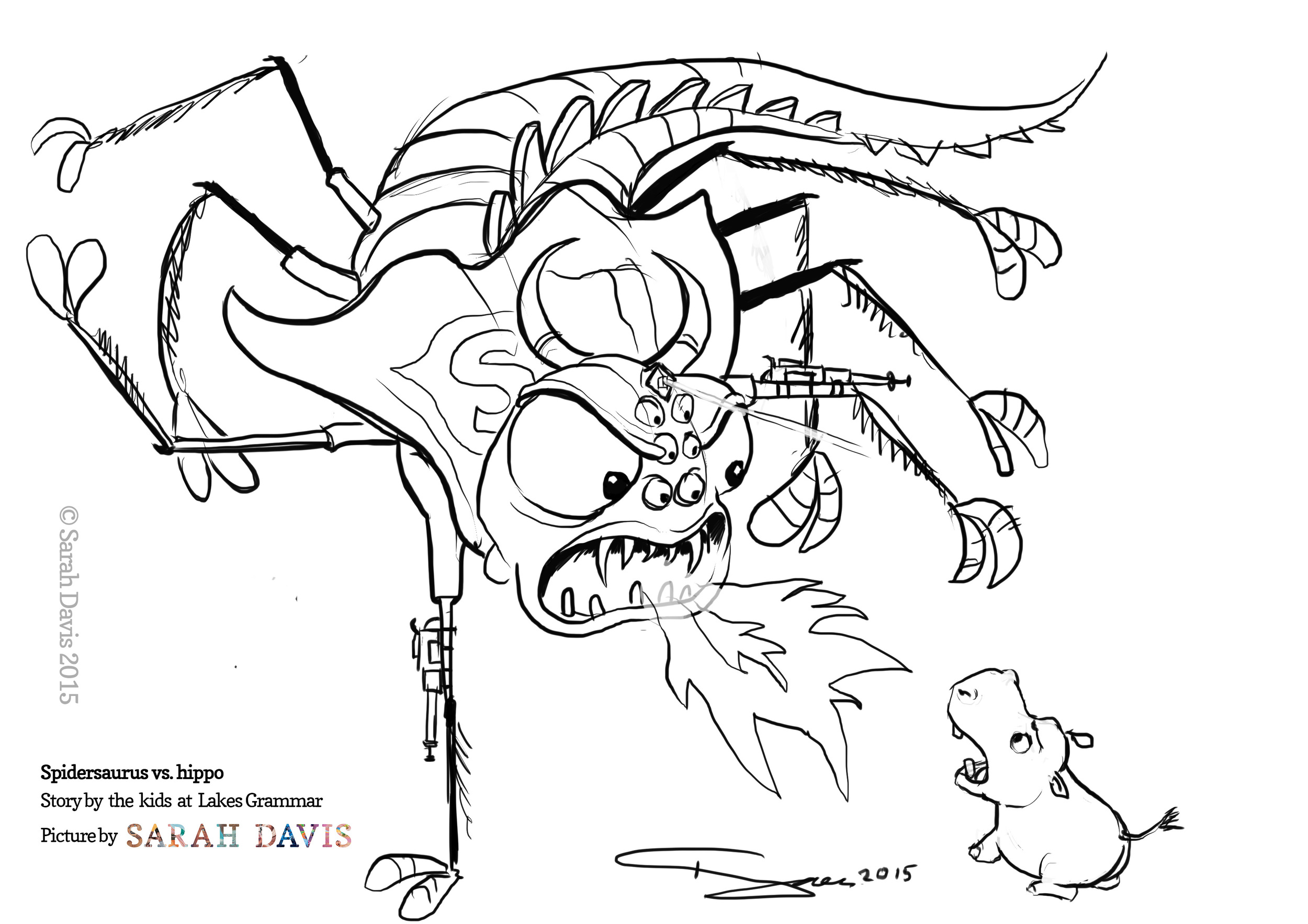 The Lakeview Grammar kids told me to draw an acrobatic Spidersaurus attacking a hippo while breathing fire. Of course.