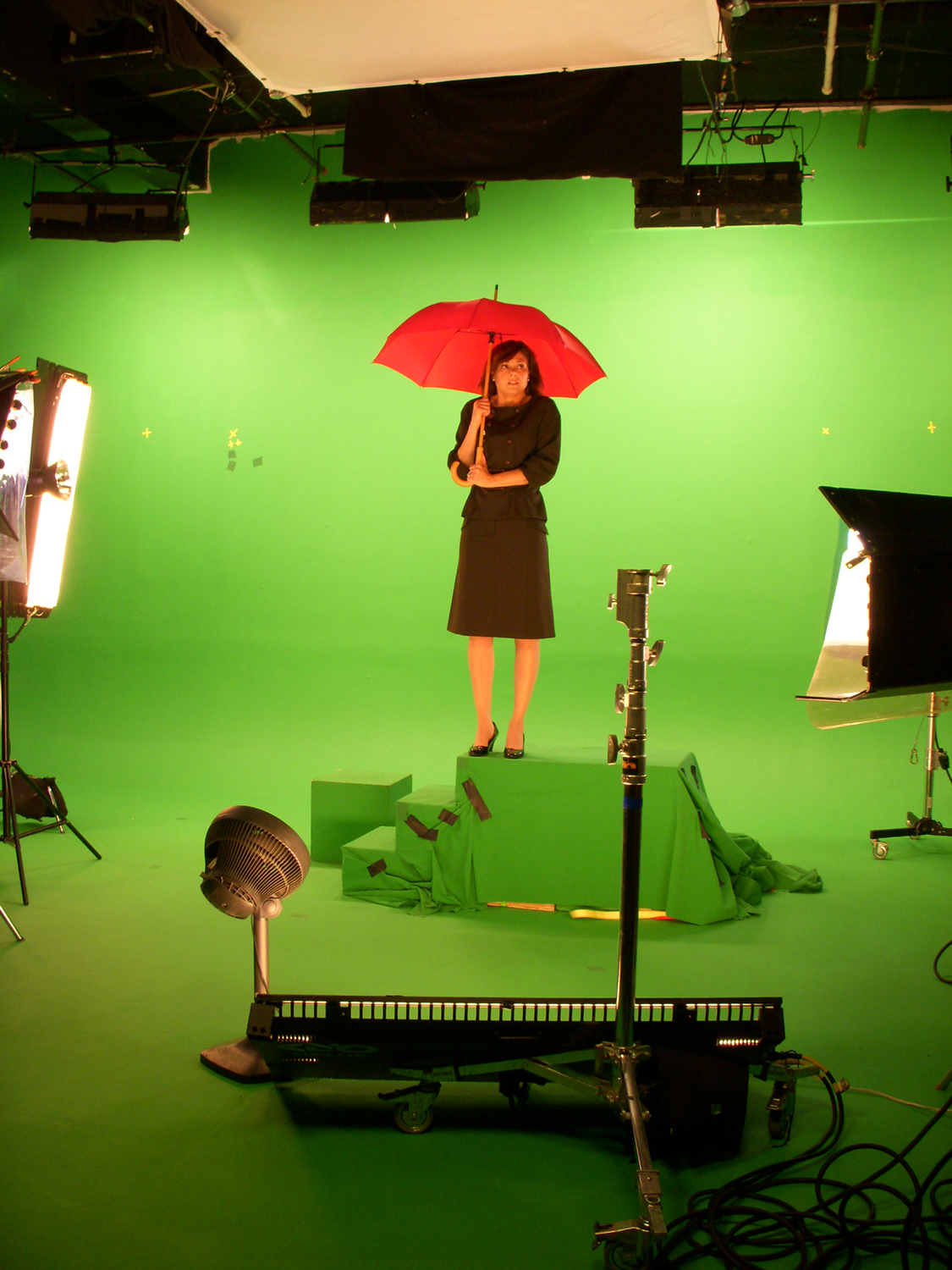 Shooting green screen at Bravo Studios with Leslie Hughes.  She is a dynamo actress.