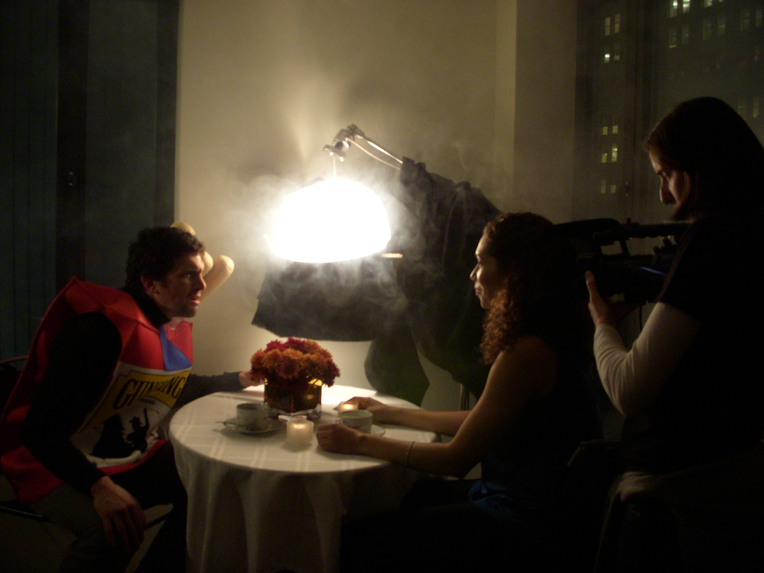 Lights, camera...smoke machine. Al DiGiulio and Christa Pryor in a breakup moment on the set.