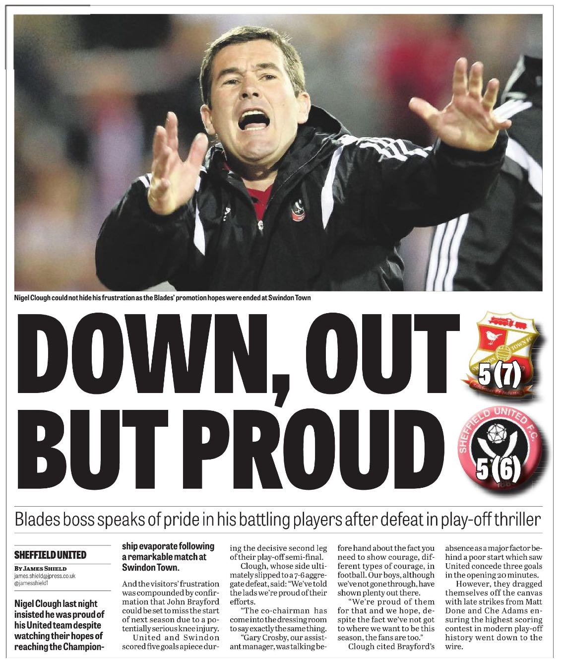 COLD COMFORT:  HOW THE STAR REPORTED UNITED'S PLAY-OFF EXIT