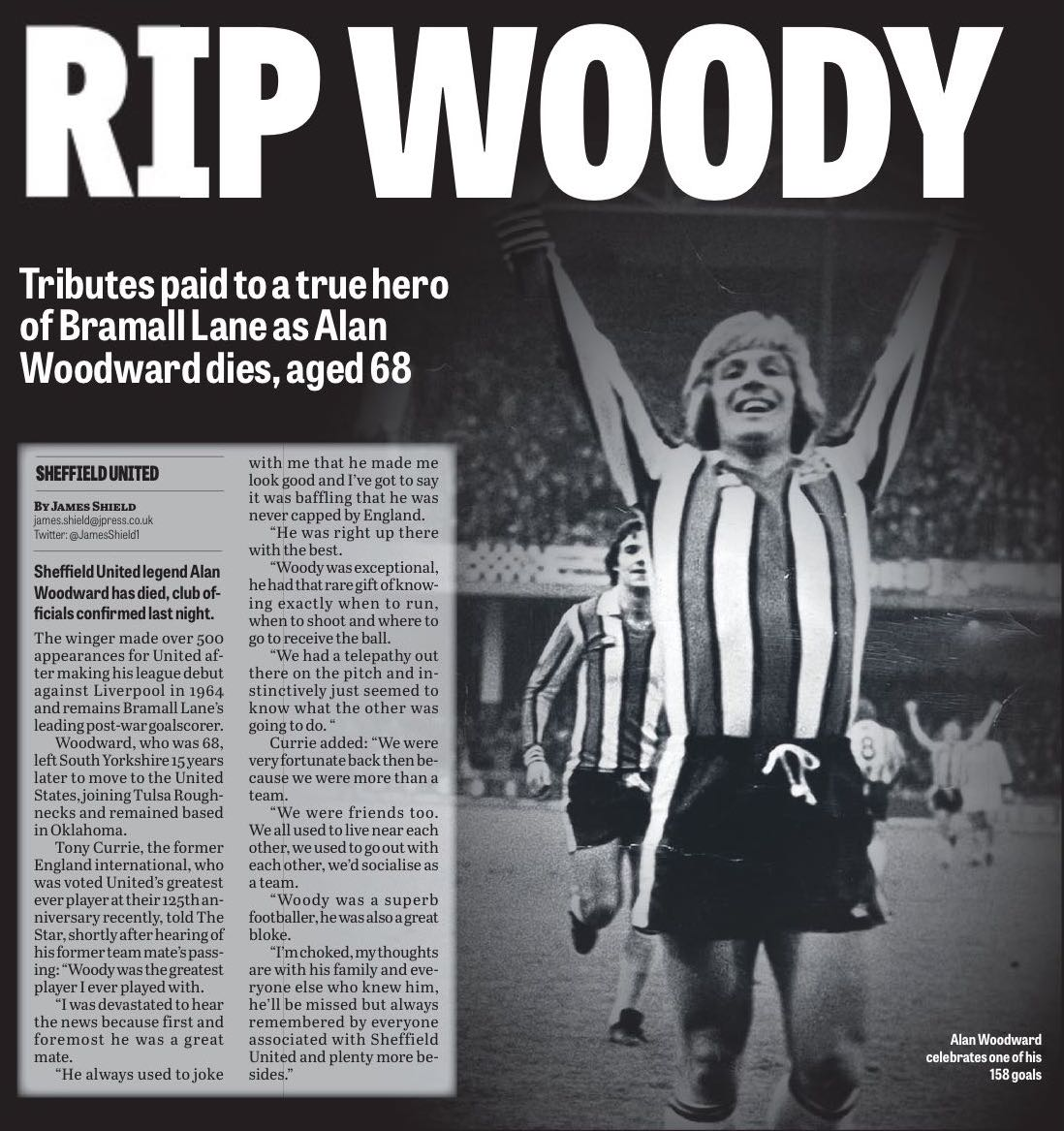 LANE LEGEND:  The Star breaks sad news of Alan Woodward's passing.  Click image to read report