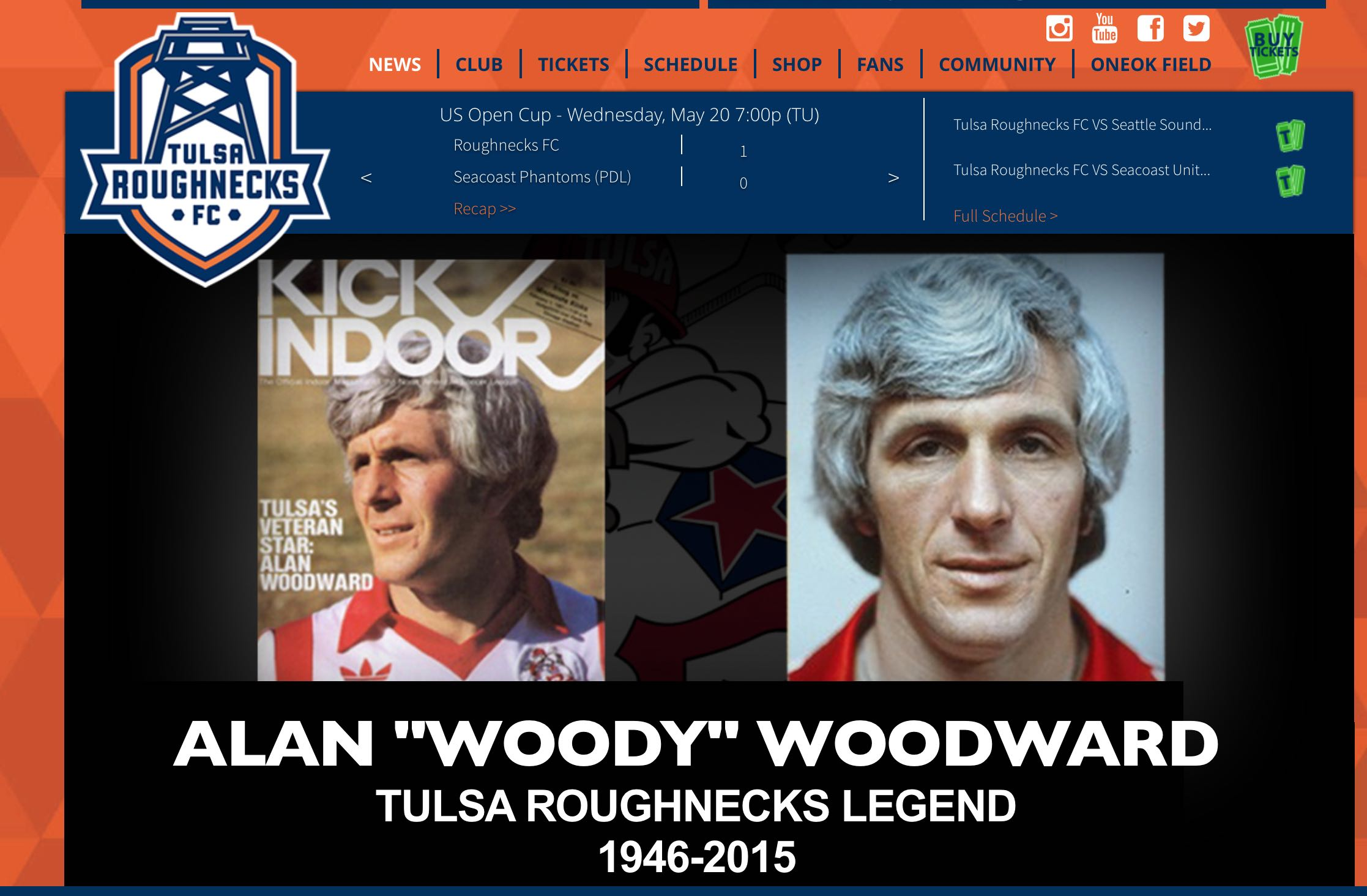 SALUTE ACROSS THE POND:  Tulsa Roughnecks' website claim our Woody as their own