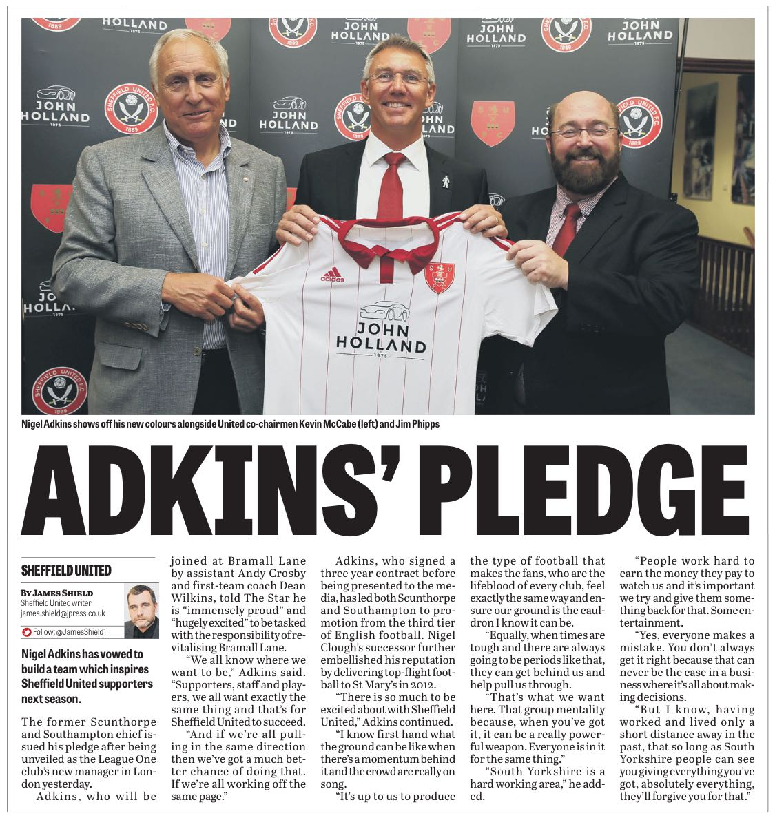 UNITED WE STAND:  HOW TODAY'S STAR REPORTED NEWS OF NiGEL ADKINS' APPOINTMENT AT THE LANE ON A THREE-YEAR CONTRACT
