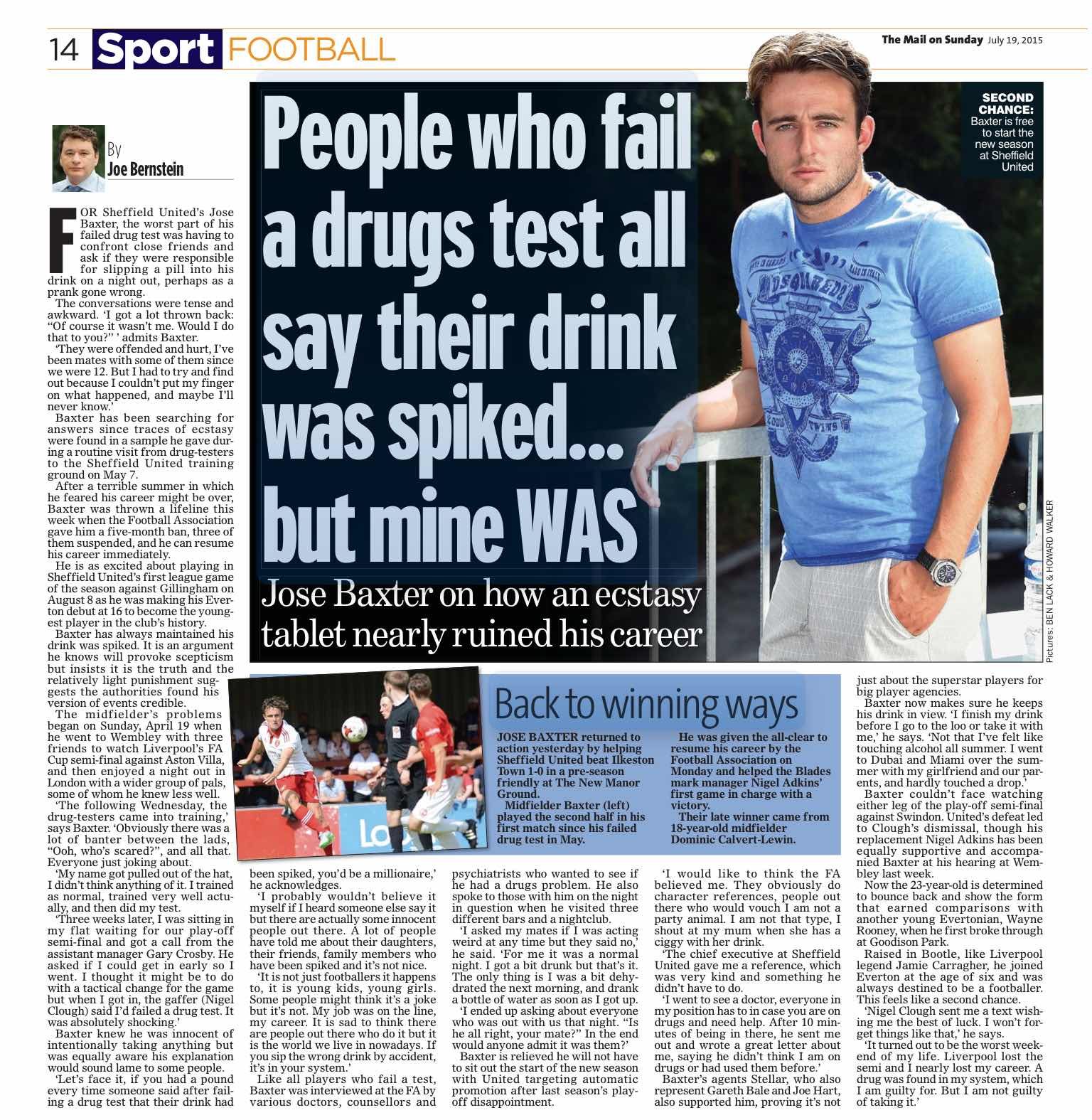 AGONY AND THE ECSTACY:  JOSE BAXTER'S INTERVIEW WITH THE MAIL ON SUNDAY