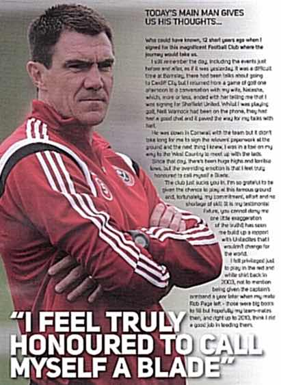 HONOURED:  MORGAN'S THOUGHTS IN MATCHPROGRAMME