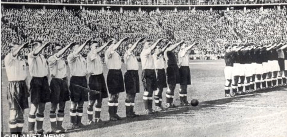 SHAMEFUL:  ENGLAND JOIN IN NAZI SALUTE BEFORE PLAYING GERMANY IN BERLIN IN 1938