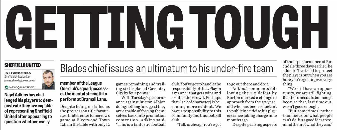 NO HIDING PLACE:  FRIDAY'S STAR REPORTS THE NEW MOOD AT BRAMALL LANE
