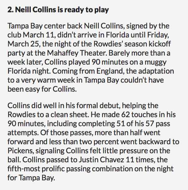 GOOD START: COLLINS' DEBUT REVIEWED BY the ROWDIES