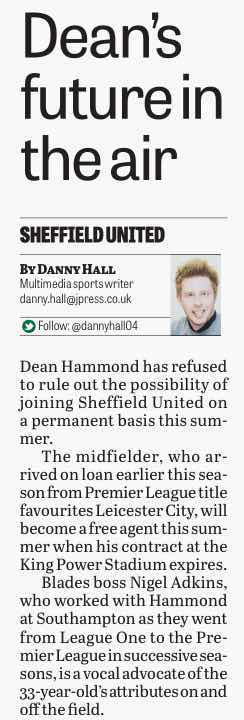 KIDOLOGY:  HAMMOND, IN THE STAR IN MARCH,'refuses' to rule out joining UNITED PERMANENTLY AT END OF THE SEASON