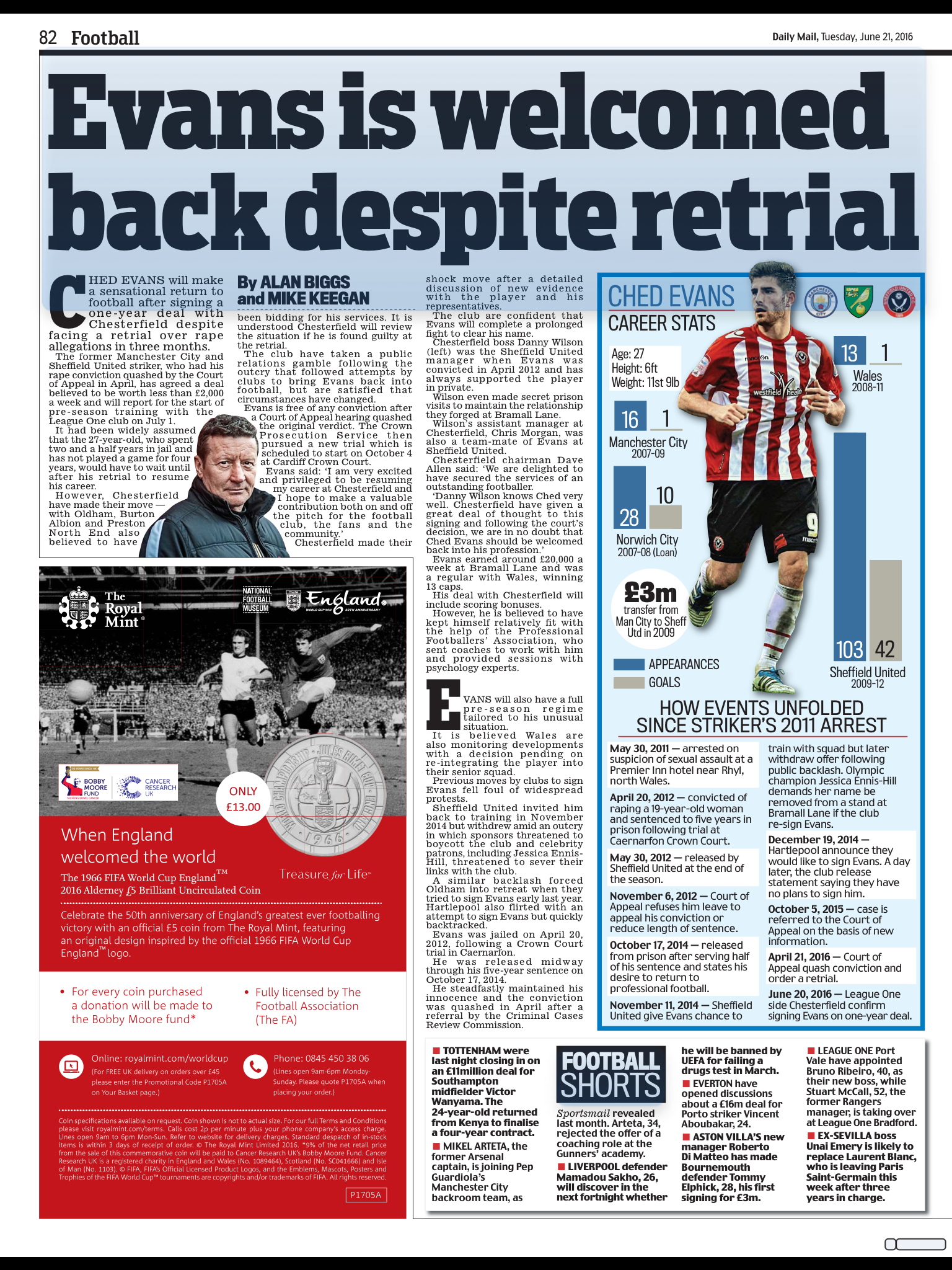 BRAVE OR FOOLISH:  THE DAILY MAIL REPORTS CHED EVANS' RETURN