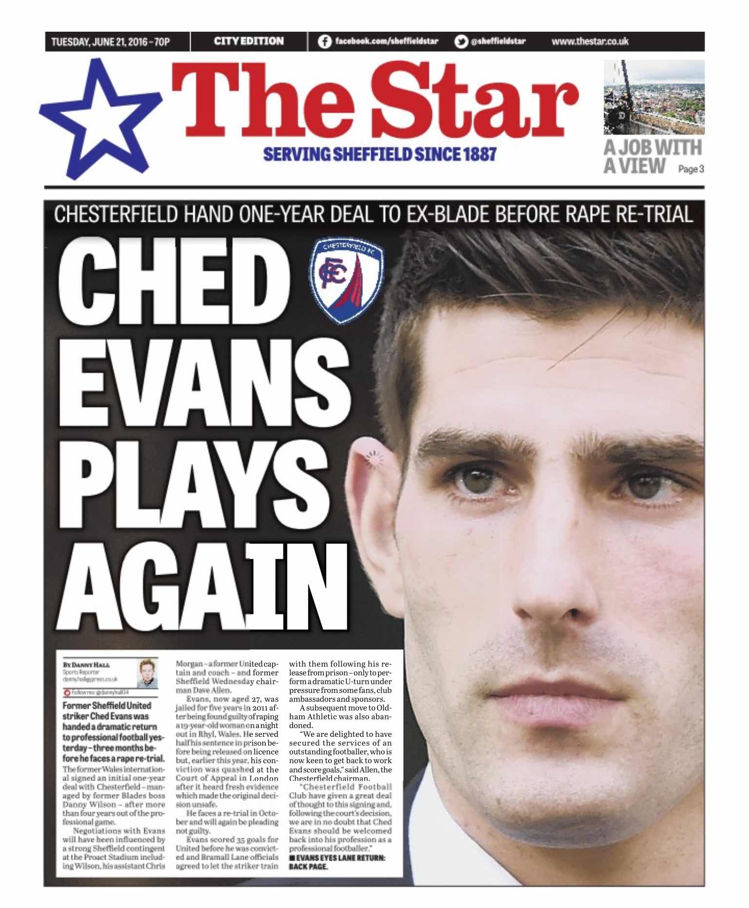 BACK IN the HEADLINES:  CHED EVANS