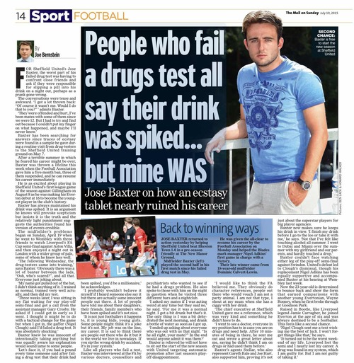 Sheffield United's Jose Baxter claims his drink was spiked