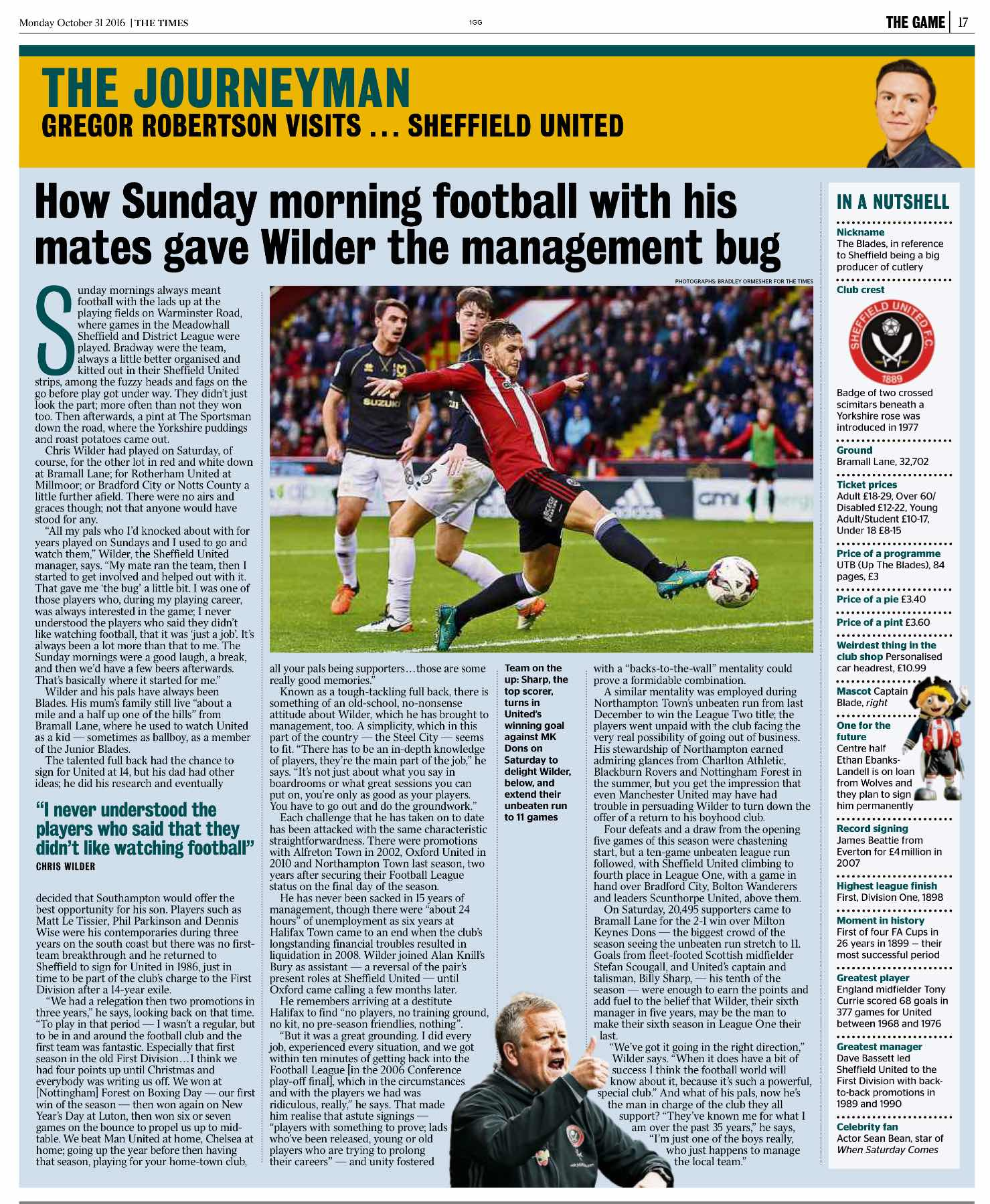 The Times on Sheffield United boss Chris Wilder