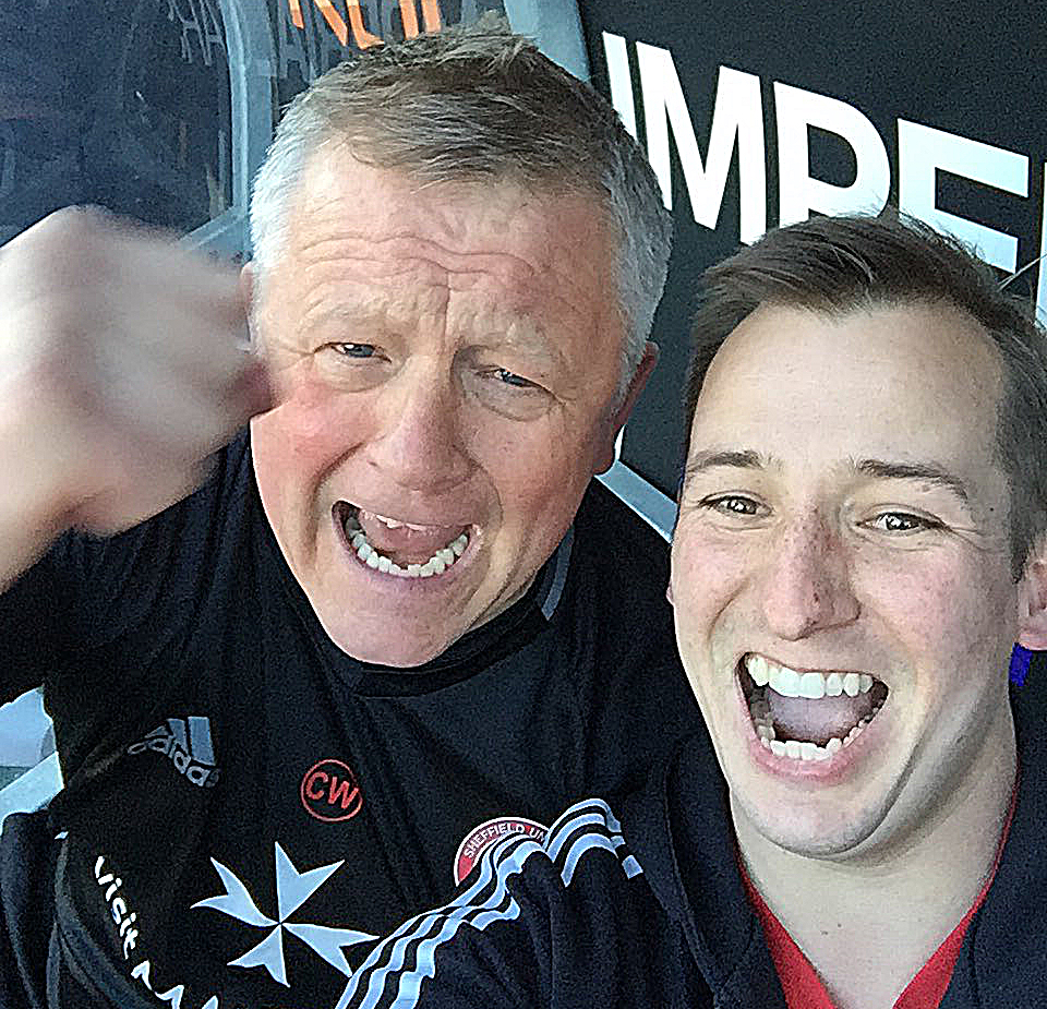 TWO OF A KIND: FAN RICHARD GLOSSOP RUSHED INTO THE BLADES DUGOUT AND TOOK THIS SELFIE AFTER UNITED SCORED THE WINNER.