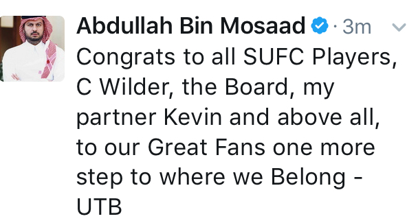 Prince Abdullah's tweet to Sheffield United after a return to the Championship was confirmed