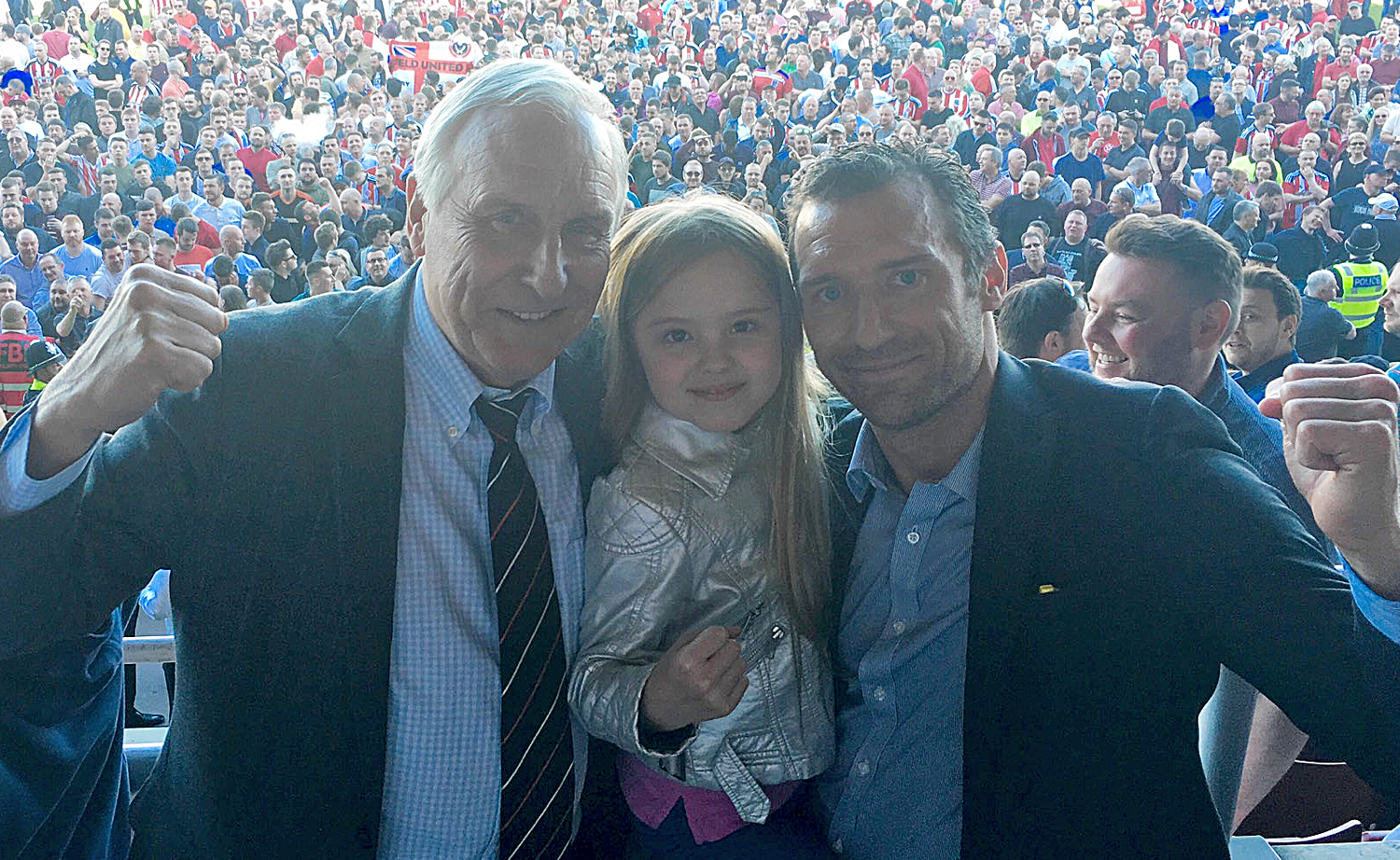 BLADES FAMILY:  CO-OWNER KEVIN MCCABE WITH HIS GRANDDAUGHTER AND SON SCOTT