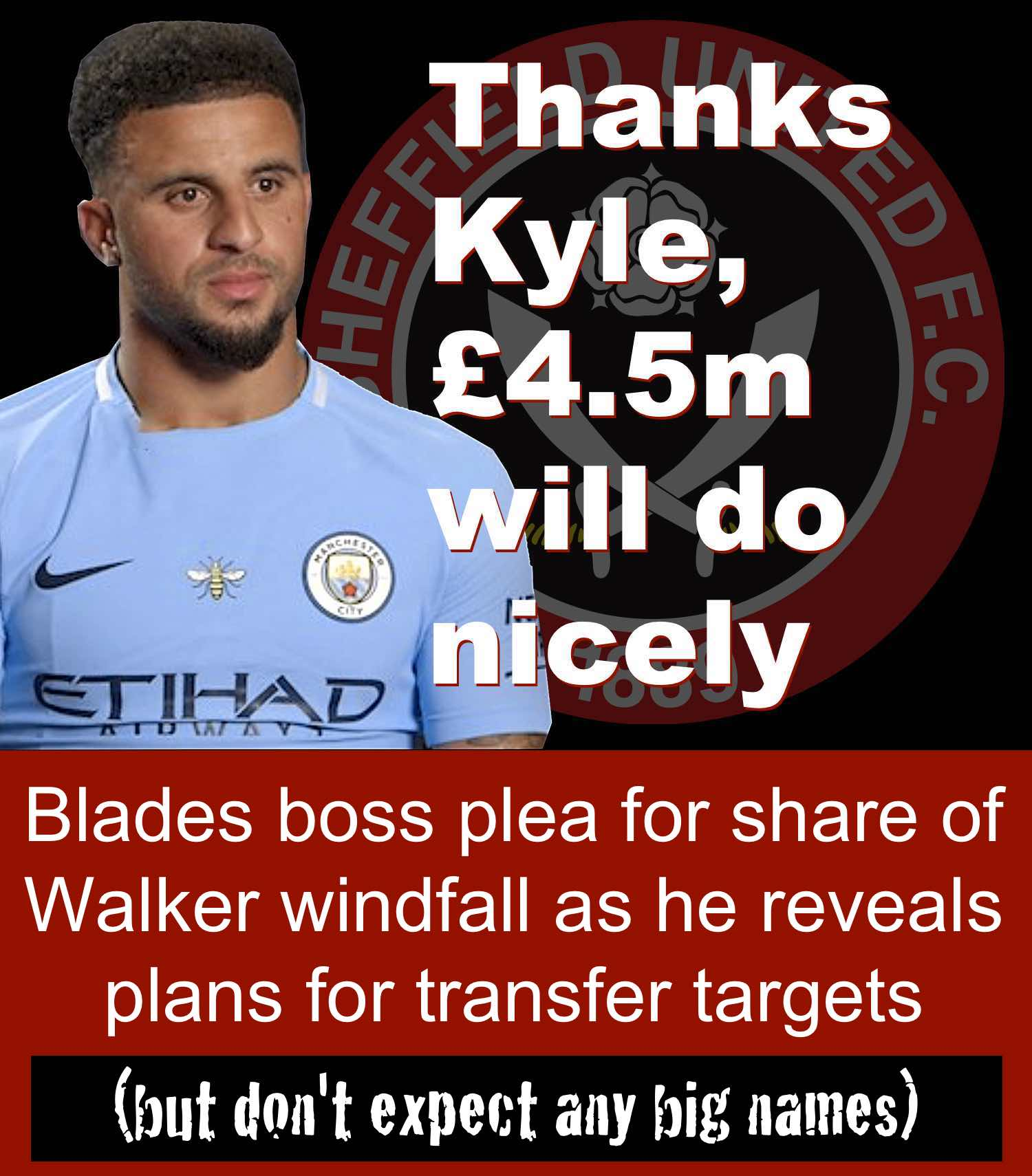 Former Blade Kyle Walker's £45m transfer to Manchester City has triggered a cash windfall for Sheffield United boss Chris Wilder at Bramall Lane