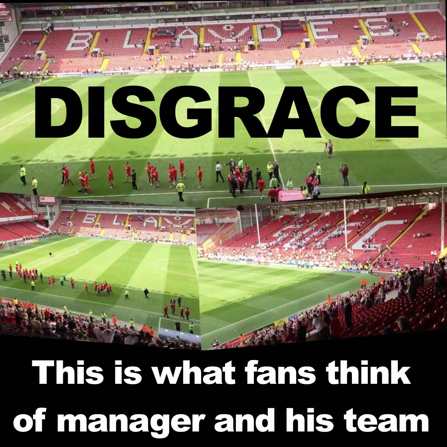 FLASHBACK TO EMBARRASSING SCENES AT AN ALMOST EMPTY BRAMALL LANE