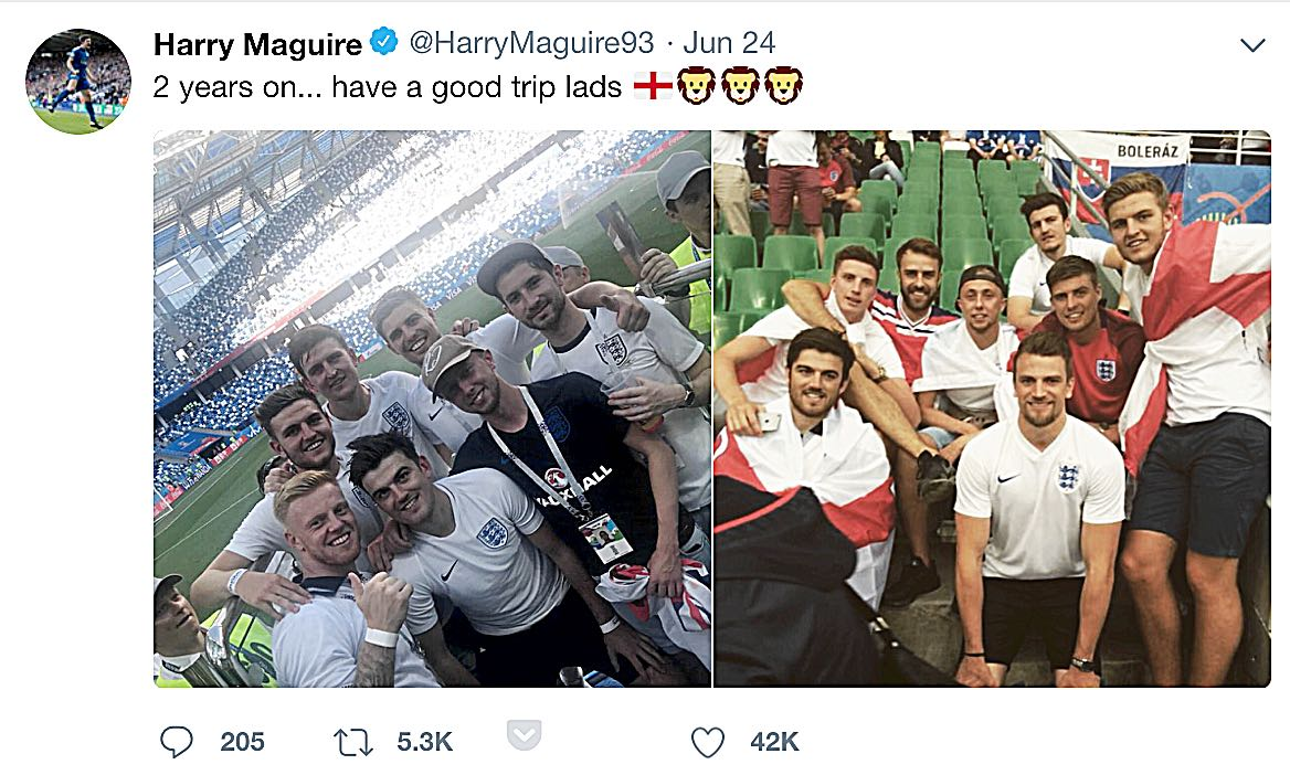 OLD PALS ACT:  HARRY MAGUIRE RECREATES the picture taken two years ago when he watched England in France with his pals (left) with the same friends at the WORLD CUP IN RUSSIA.
