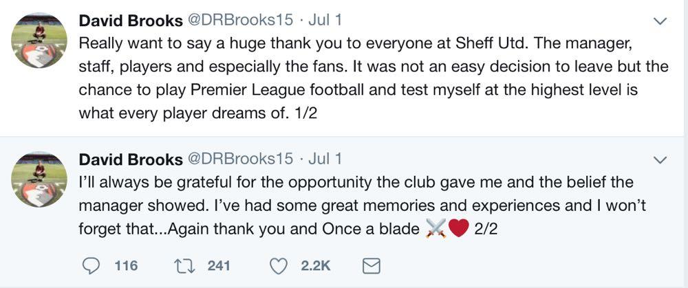 GRATEFUL: Brooks tweets his farewell.