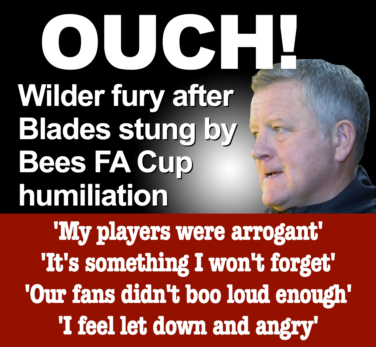 Blades Boss Wilder blasts players and waens of consequences after Sheffield United's humiliating FA Cup exit to non-league Barnet at Bramall Lane.