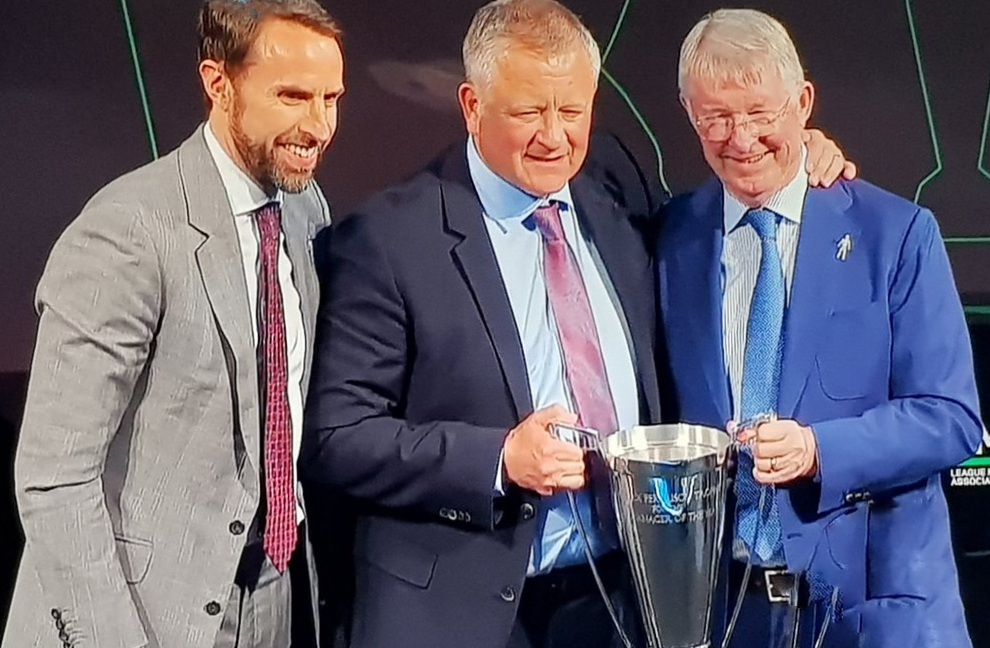 CENTRE STAGE:  Chris Wilder receives the League Managers Association Manager of the Year trophy from Sir Alex Ferguson watched by England boss Gareth Southgate.