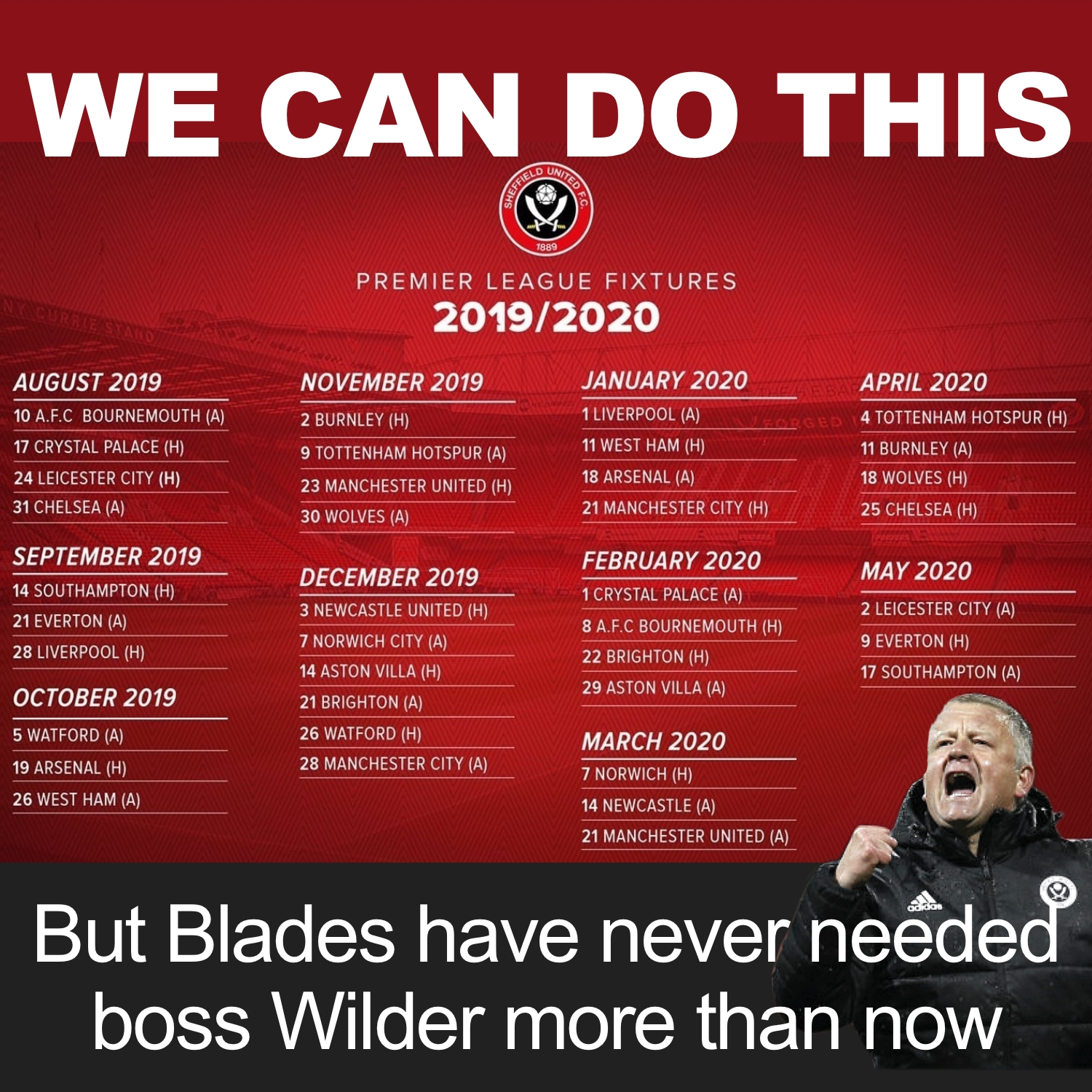 Sheffield United need boss Chris Wilder now more than ever if they are to survive in Premier League