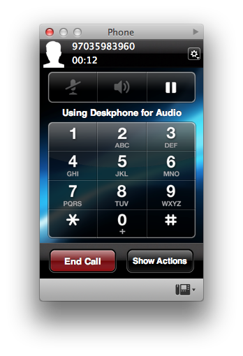 Call is made or received on the desktop phone