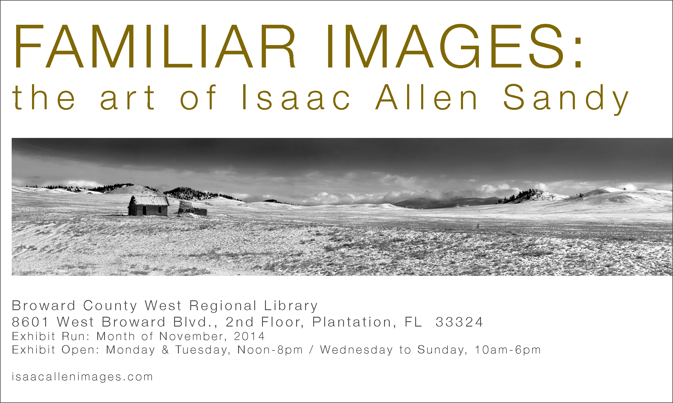 Isaac will be exhibiting a collection of his favorite work at the Broward County West Regional Library, Plantation, Florida in November!