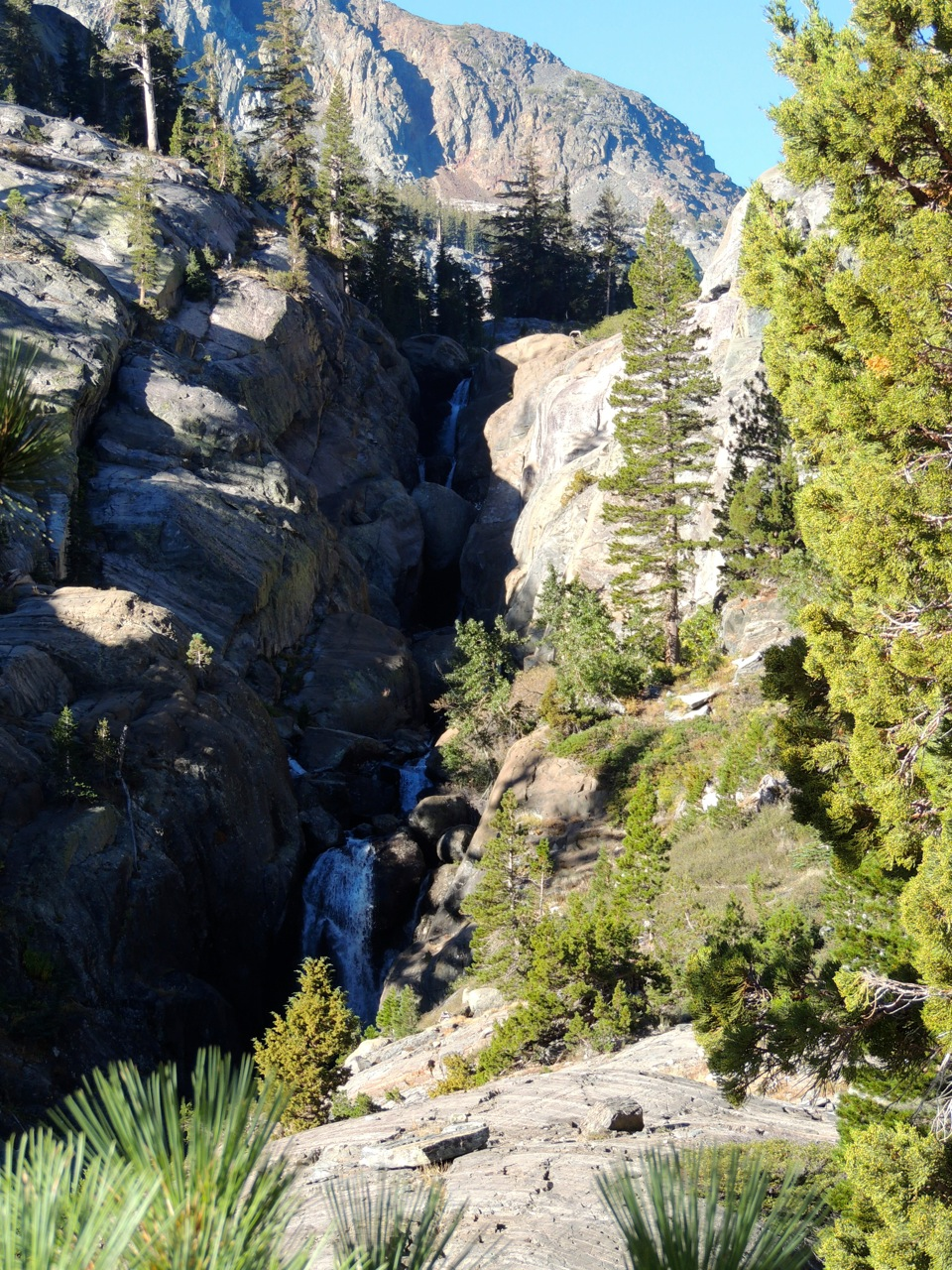A small waterfall along Shadow Creek on our way up to Ediza Lake. And yes, we had to climb that (via trail).
